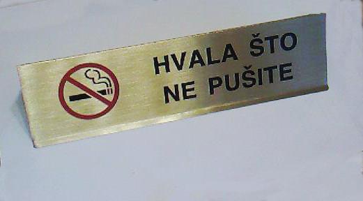 Znak zabrane pušenja od mesinga